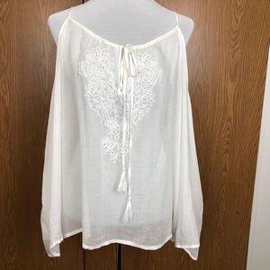 Jessica Simpson White Embroidery Cold Shoulder Top